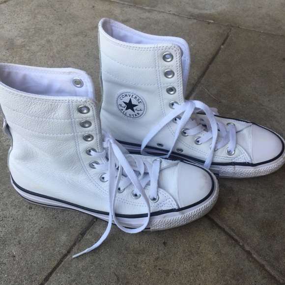 d099d25f15cc Converse Shoes - Rare white leather converse extra high high tops